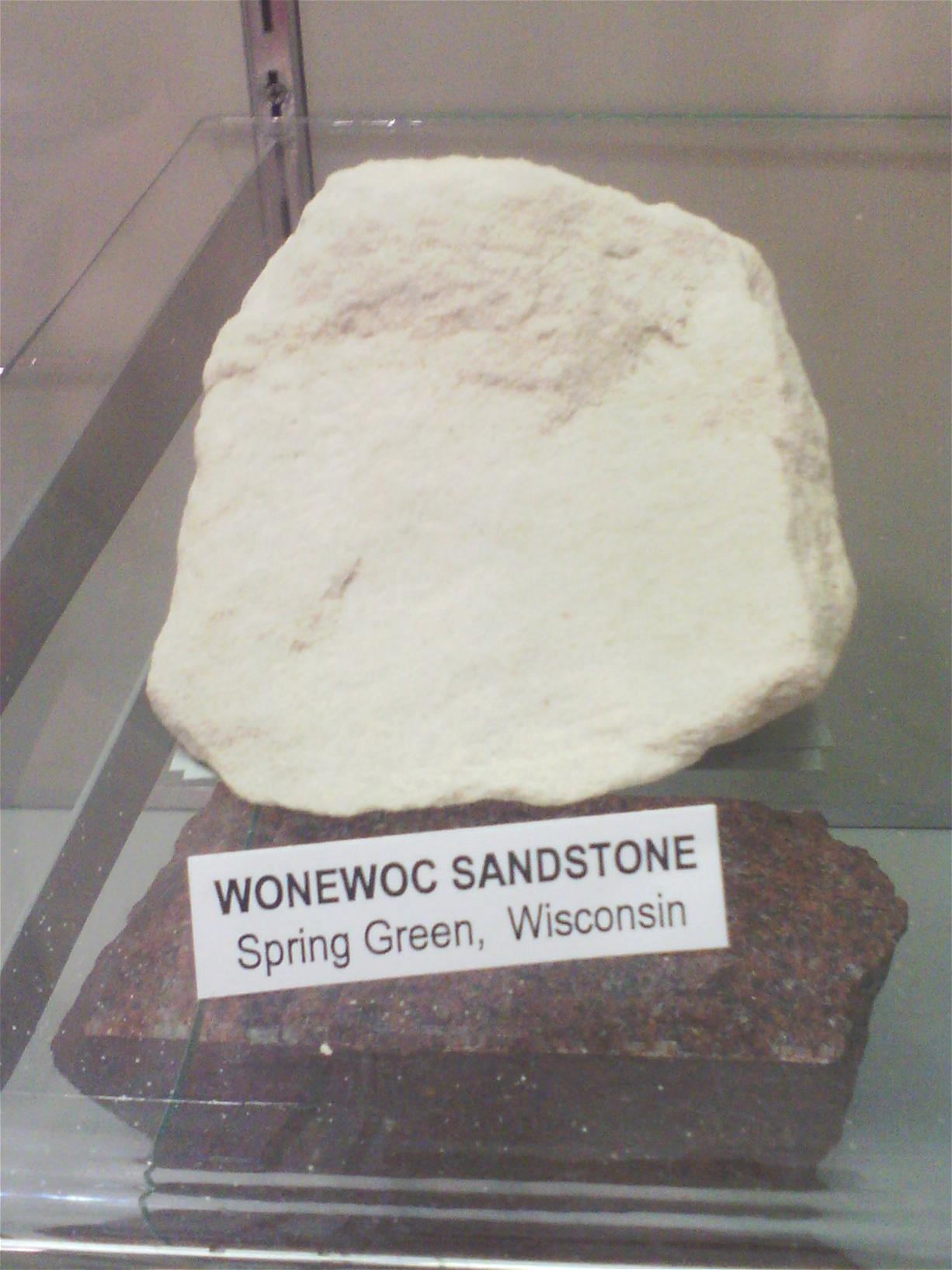 A sample piece of wonewoc sandstone found in Spring Green, Wisconsin