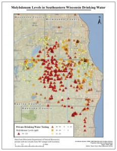Tyson Cook / Clean Wisconsin A map from the Clean Wisconsin report shows molybdenum test results in southeastern Wisconsin.