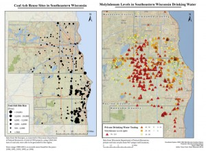 Tyson Cook / Clean Wisconsin In 2014, Clean Wisconsin, an environmental advocacy group, studied nearly 1,000 private wells in southeastern Wisconsin and mapped 399 coal ash disposal sites. Based on the study, the group said wells closer to disposal sites showed higher levels of molybdenum, a toxic metal found in coal ash.